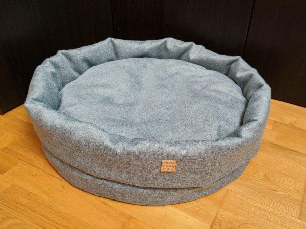 Серо-голубая круглая лежанка размер L